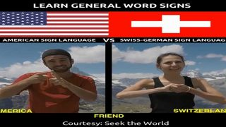 Learn General Word Signs in American Sign Language Vs Swiss-German Sign Language