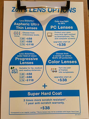 zoff lens options